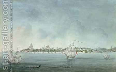 View of Sultan Ahmet and Santa Sophia from Uskudar in Constantinople by (after) Hilaire, Jean-Baptiste - Reproduction Oil Painting