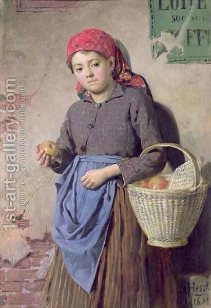 The Apple Seller by Gustav August Hessl - Reproduction Oil Painting