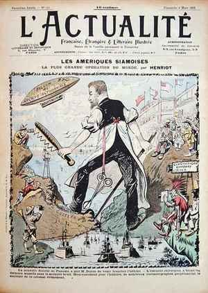 Maigrot Henri known as Henriot reproductions - Caricature on the Construction of the Panama Canal and the Media Coverage surrounding it cover of LActualite magazine