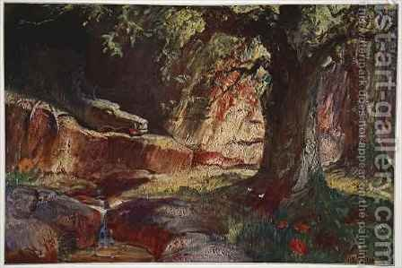 Hermann Hendrich: Fafner in his cave - reproduction oil painting