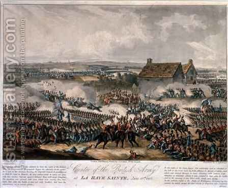 Centre of the British Army at La Haye Sainte during the Battle of Waterloo by (after) Heath, William - Reproduction Oil Painting