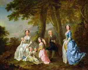 Samuel Richardson seated with his second family