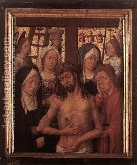 Man of Sorrows with Mary and John and Two Holy Women by - Unknown Painter - Reproduction Oil Painting