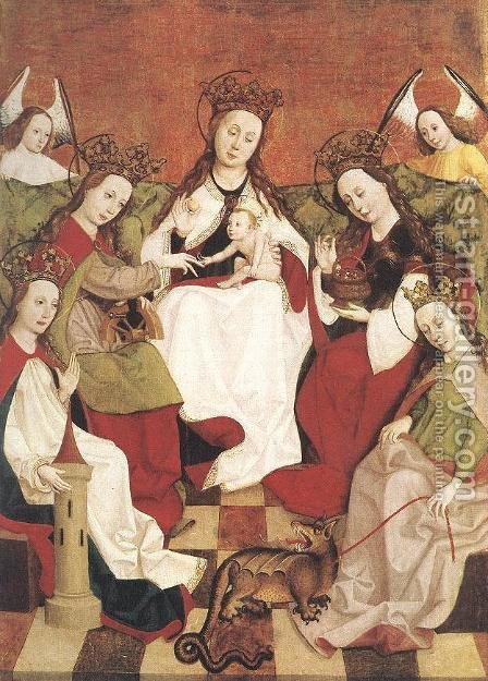 Marriage of Saint Catherine by - Unknown Painter - Reproduction Oil Painting