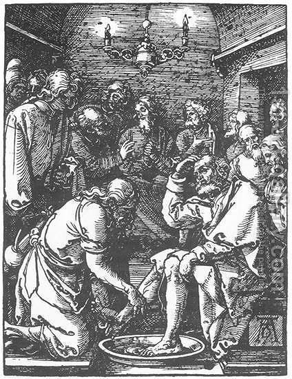 Small Passion 9. Christ Washing Peter's Feet by Albrecht Durer - Reproduction Oil Painting