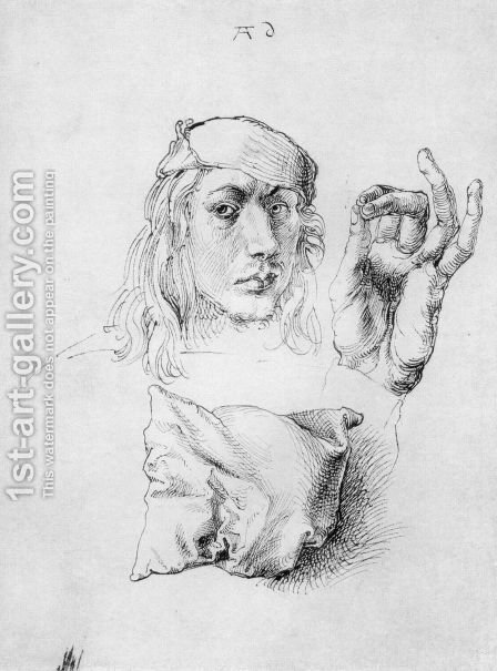 Studies of Self-Portrait, Hand and Pillow by Albrecht Durer - Reproduction Oil Painting