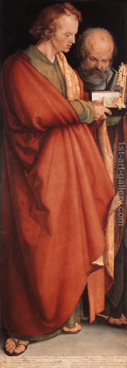 The Four Holy Men (John the Evangelist and Peter) by Albrecht Durer - Reproduction Oil Painting