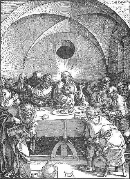 The Large Passion 9. Last Supper by Albrecht Durer - Reproduction Oil Painting