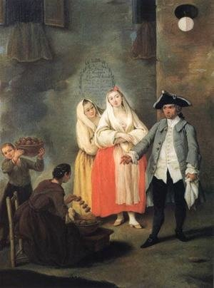 Reproduction oil paintings - Pietro Longhi - Vendor of Roast Meat