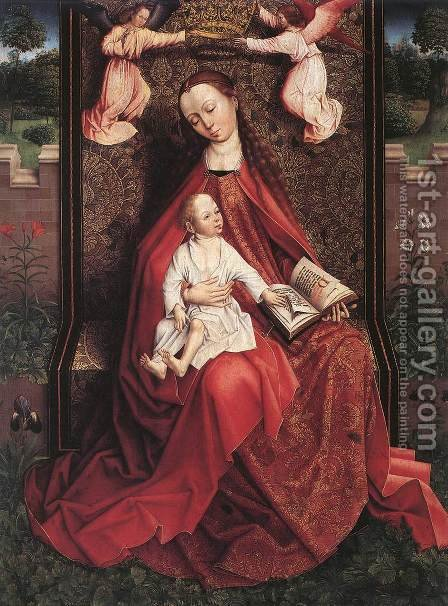 Virgin and Child Crowned by Two Angels by - Unknown Painter - Reproduction Oil Painting