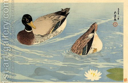 Ducks Taisho era by Goyo Hashiguchi - Reproduction Oil Painting
