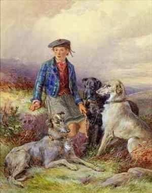 Reproduction oil paintings - James Hardy Jnr - Scottish boy with wolfhounds in a Highland landscape