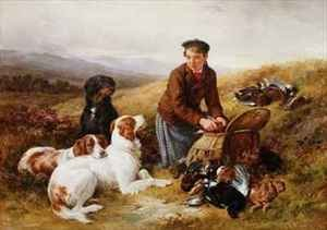Reproduction oil paintings - James Hardy Jnr - A Young Gillie With Setters and Dead Game