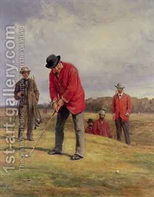 George Glennie Putting at Blackheath with Putting Cleek by Heywood Hardy - Reproduction Oil Painting