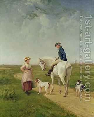 Milkmaid talking to a Cavalier by Heywood Hardy - Reproduction Oil Painting