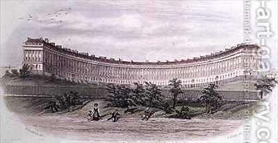 Royal Crescent Bath from the park by (after) Hardwick of Bath, William N. - Reproduction Oil Painting