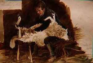 Reproduction oil paintings - John Harden - Major Gilpin Shearing a Sheep
