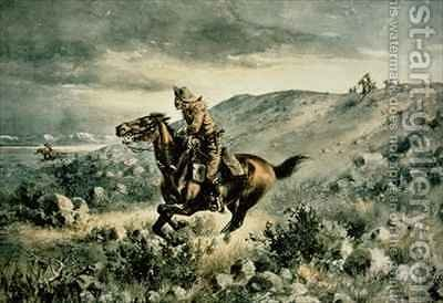 Pony Express pursued by Indians by Henry W. Hansen - Reproduction Oil Painting