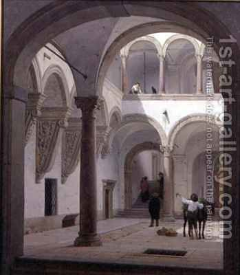 Courtyard of the Palazzo Fava Bologna by Heinrich Hansen - Reproduction Oil Painting