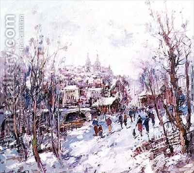 Winter Scene in a French Cathedral Town by Heinrich Hansen - Reproduction Oil Painting