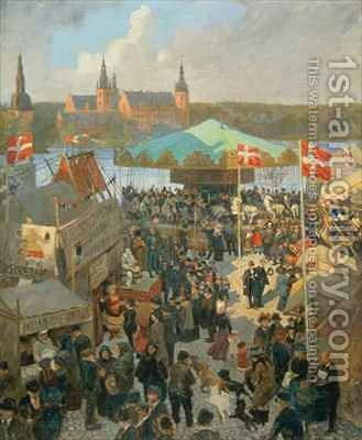 November Market at Hillerod by Hans Nikolaj Hansen - Reproduction Oil Painting