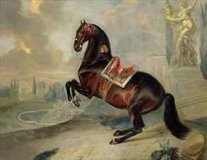 Neo-Classical painting reproductions: The dark bay horse Valido performing a Levade movement