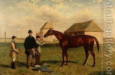 Thunderbolt a Chestnut Racehorse with his Owner and Jockey by Harry Hall - Reproduction Oil Painting