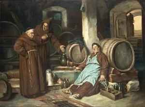 Realism painting reproductions: Monks in a cellar