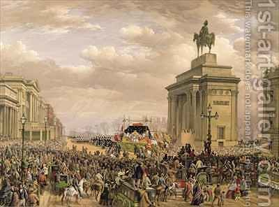 Funeral of the Duke of Wellington the funeral car passing the archway at Apsley House by (after) Haghe, Louis - Reproduction Oil Painting