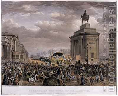 The Duke of Wellingtons 1769-1852 funeral car passing the Archway at Apsley House on 18th November 1852 by (after) Haghe, Louis - Reproduction Oil Painting