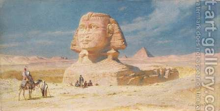 Carl Haag: The Sphynx of Giza with the Pyramid of Mykerinos - reproduction oil painting