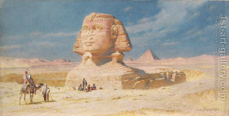 Huge version of The Sphynx of Giza with the Pyramid of Mykerinos
