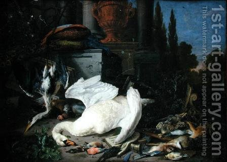 Pieter Gysels: Still Life with Dead Birds - reproduction oil painting