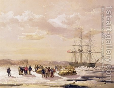 Sledge party leaving HMS Investigator in Mercy Bay under the Command of Lieutenant S Gurney Cresswel by (after) Gurney Cresswell, Lieutenant S. - Reproduction Oil Painting