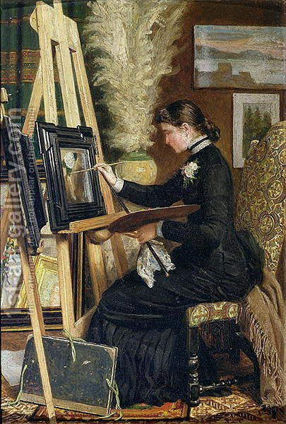 Portrait of Josephine Gillow painting at an easel by Guido Guidi - Reproduction Oil Painting