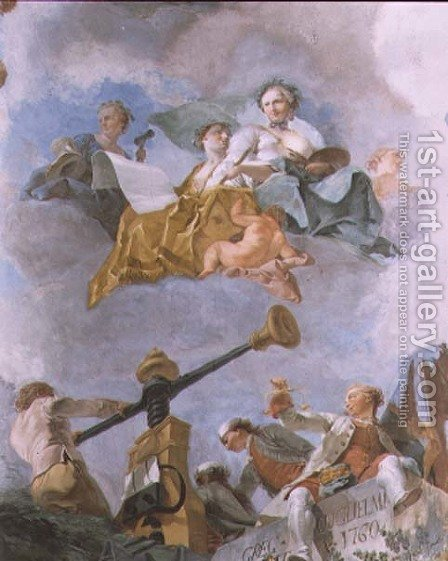 Allegorical figures by Gregorio Guglielmi - Reproduction Oil Painting