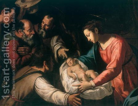 Adoration of the Shepherds by Giovanni Francesco Guerrieri - Reproduction Oil Painting