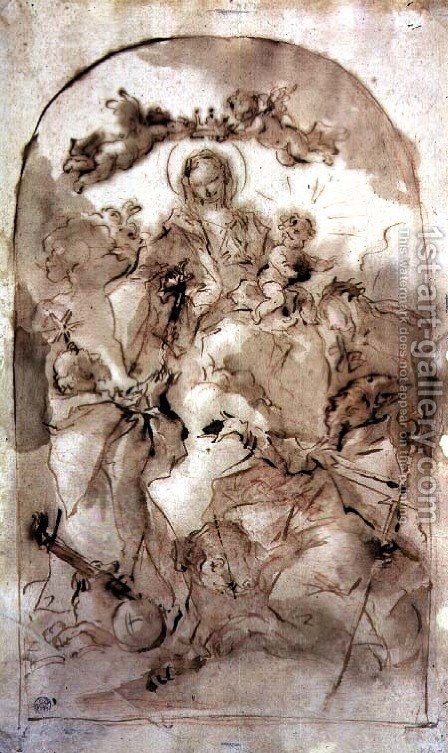 Virgin and Child with St Dominic St Theresa and St Coribian by Giovanni Antonio Guardi - Reproduction Oil Painting