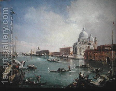 The Grand Canal with a View of Santa Maria della Salute and the Dogana by (after) Guardi, Francesco - Reproduction Oil Painting