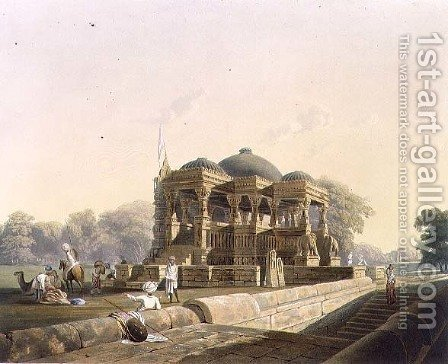 Ancient Temple at Hulwud by (after) Grindlay, Captain Robert M. - Reproduction Oil Painting