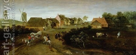Landscape on the Outskirts of a Village by Jacob Grimmer - Reproduction Oil Painting