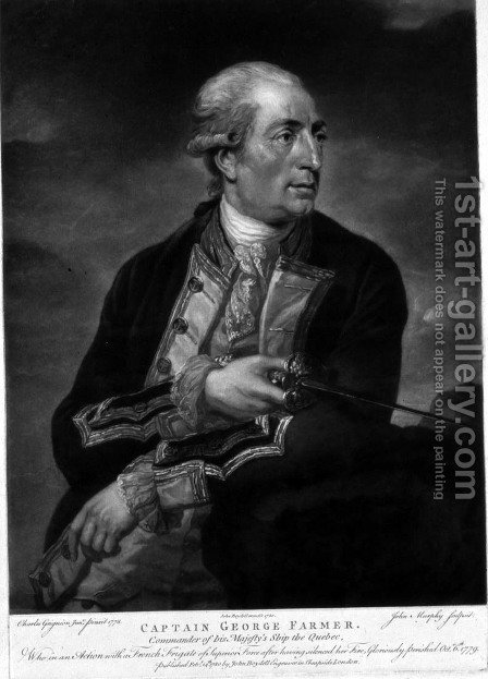 Portrait of George Farmer 1732-79 Captain of HMS Quebec by (after) Grignion, Charles - Reproduction Oil Painting