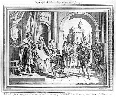 Christopher Columbus 1451-1506 presenting an account of his discovery of America to the King and Queen of Spain by (after) Grignion, Charles - Reproduction Oil Painting