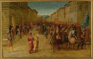 Reproduction oil paintings - Francesco Granacci - Charles VIII 1470-98 entering Florence