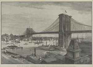 Realism painting reproductions: The New York and Brooklyn Suspension Bridge from the Brooklyn Side