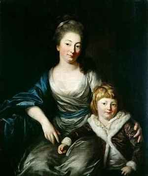 Rococo painting reproductions: Johanna Amalie Countess Senfft von Pilsach with her son Henry
