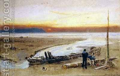 Shore Scene at Sunset by Albert Goodwin - Reproduction Oil Painting