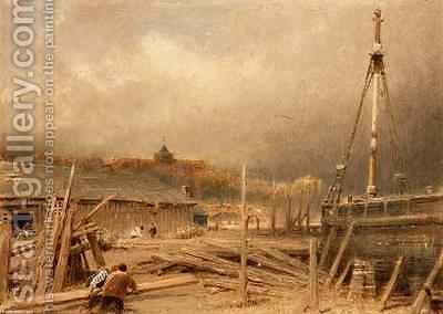Boat Building Rye by Albert Goodwin - Reproduction Oil Painting