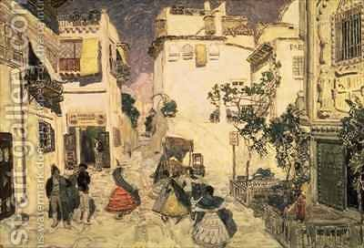 A Street in Seville sketch for the stage set for Bizets opera Carmen by Aleksandr Jakovlevic Golovin - Reproduction Oil Painting