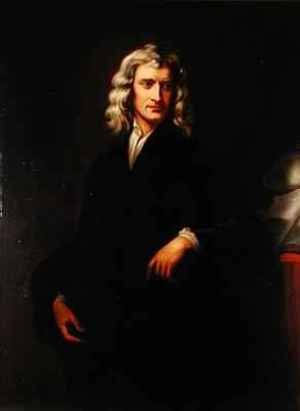 Neo-Classical painting reproductions: Portrait of Sir Isaac Newton 1642-1727 after an original painting by Sir Godfrey Kneller 1646-1723